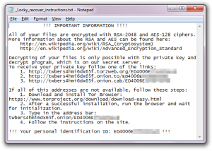 Locky ransomware message screenshot