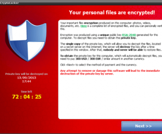 CryptoLocker ransomware encrypted files message