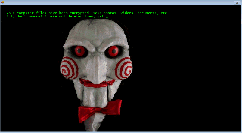 Jigsaw ransom message with Saw character