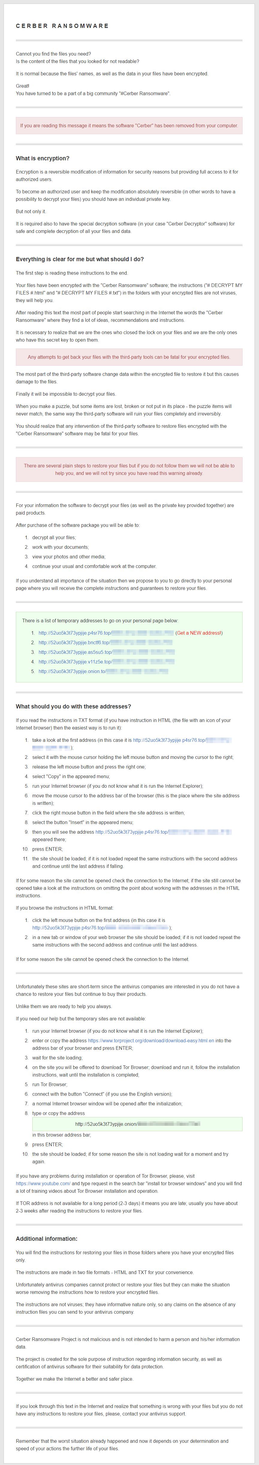 Full Cerber ransom note screenshot (HTML)