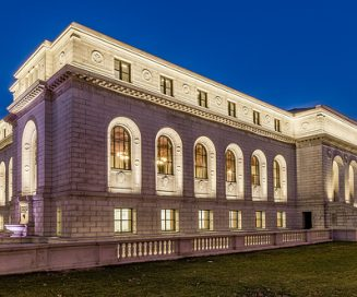 st louis public library, exterior at night