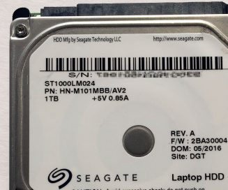 Seagate ST1000LM024 drive label detail