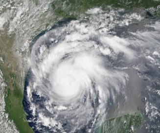 Hurricane Harvey just before landfall from NASA's Terra satellite, MODIS