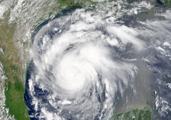Hurricane Harvey just before landfall from NASA's Terra satellite, MODIS