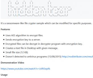 Hidden Tear Info from GitHub