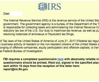 fake IRS message