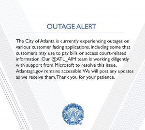 City of Atlanta Outage Alert, SamSam Ransomware