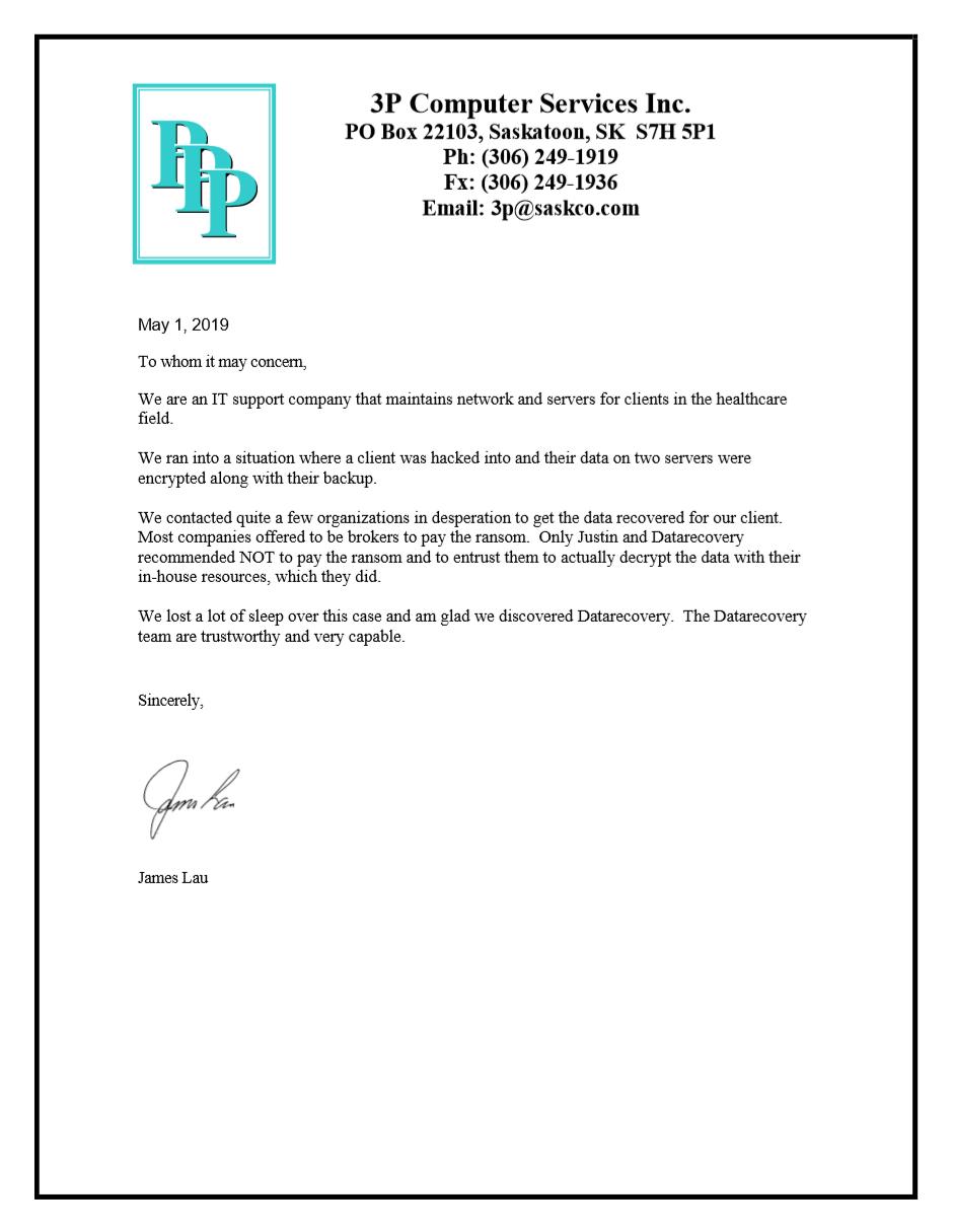 3P Computer Services testimonial