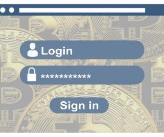 Cryptocoin wallet login password screen
