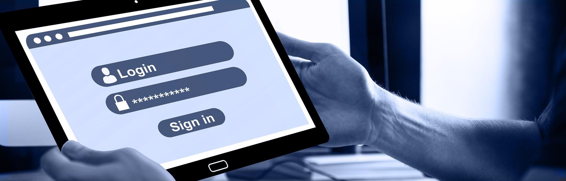password login screen tablet