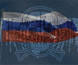 Russia flag, ransomware skull
